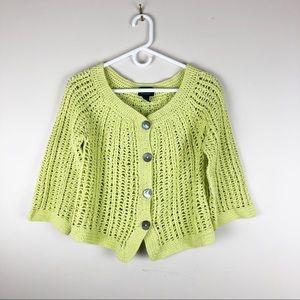 Pure Handknit Yellow Crochet Cardigan Sweater